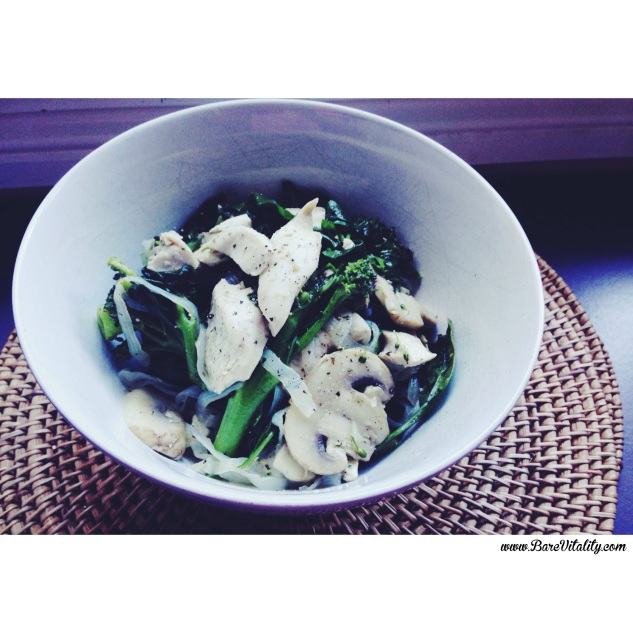 Cleansing green chicken noodle bowl